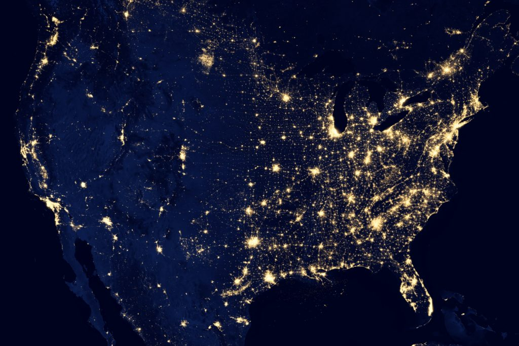 Satelite view of earth with golden lights