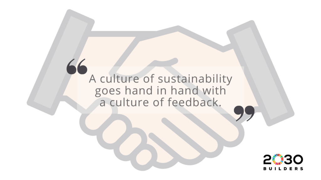 Quote: A culture of sustainability goes hand in hand with a culture of feedback